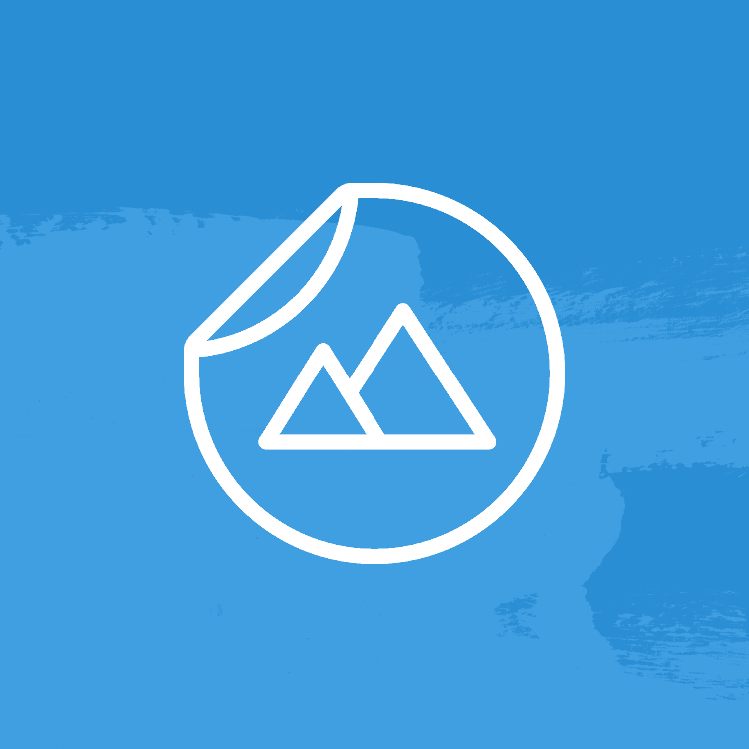 Sticker with mountains on a blue background