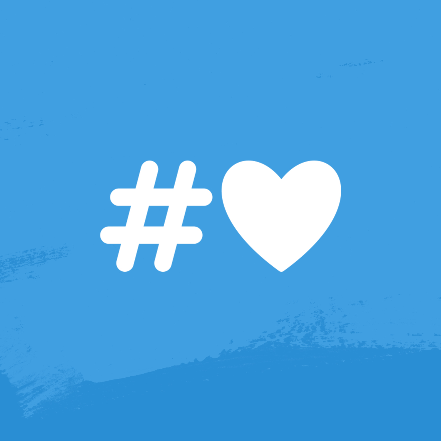 Hashtag and heart on a blue background