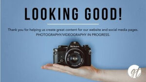 """Church photography disclaimer from GT Austin. Reads: """"Looking Good. Thank you for helping us create great content for our website and social media pages. Photgraphy/Videography in progress."""""""